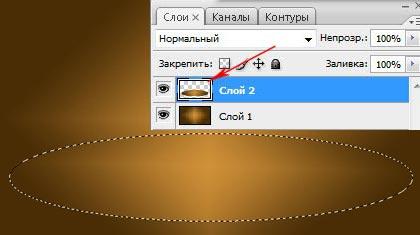Выделяем выбранный эллипс | Мраморный текст в Photoshop